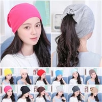 solid color cotton hip hop beanie hat ponytail caps scarf collar for man women