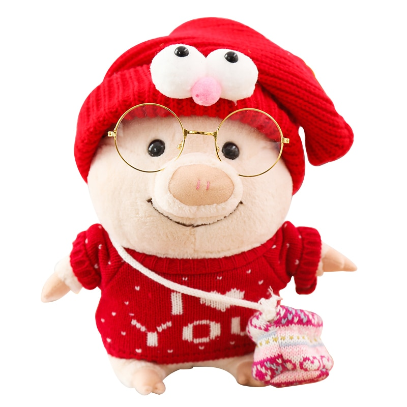 1pc Peluche Lovely With Glasses Little Bag Pig Plush Toys Novelty Special Use Stuffed Animals Kawaii
