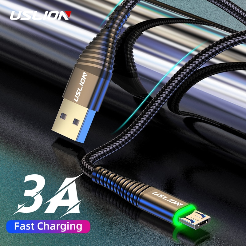 USLION 3A Micro USB Cable 0.5m/1m/2m Data Sync Fast Charging Wire For Samsung Huawei Xiaomi Note Tab