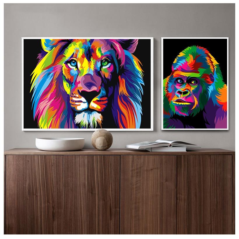 Acuarela de León Pop pósteres e impresiones artísticos Animales abstractos lona pared...