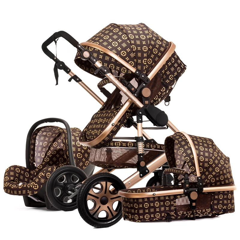 2021 High Landscape Baby Stroller 3 in 1 With Car Seat and Stroller Luxury Infant Stroller Set Newborn Baby Car Seat Trolley