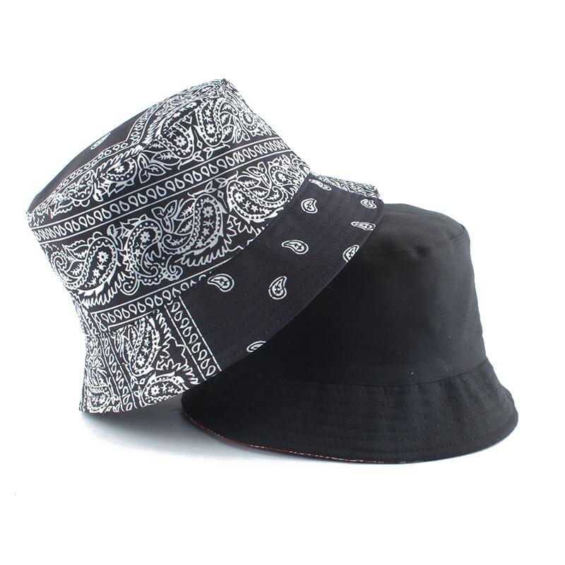 2021 New Fashion Vintage Print Bucket Hats Reversible Bob Chapeau Femme Hip hop Caps Gorro Men Fisherman Hat