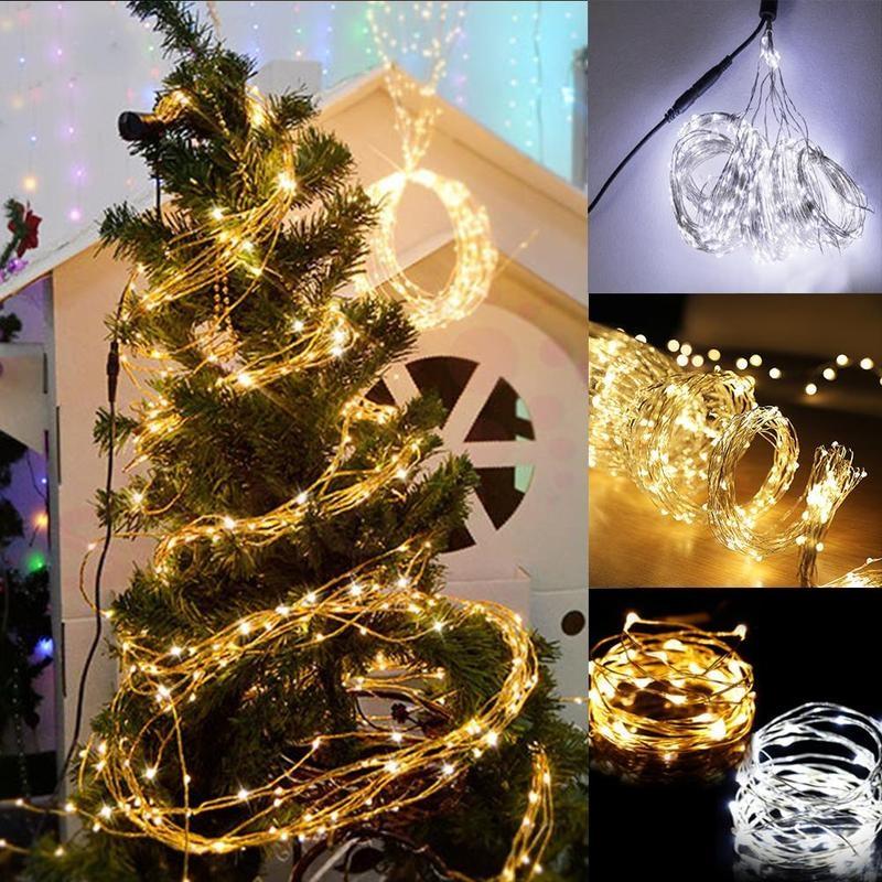 5 ramas 100 luces cortina luces cascada Fairy Lights Strands Bunch String luces boda Navidad árbol fiesta Decoración
