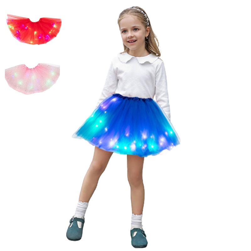 Kid Girl Luminous Neon LED Mesh Tutu Skirt Party Stage Dance Prom Costume Wear Pleated Layered Tulle