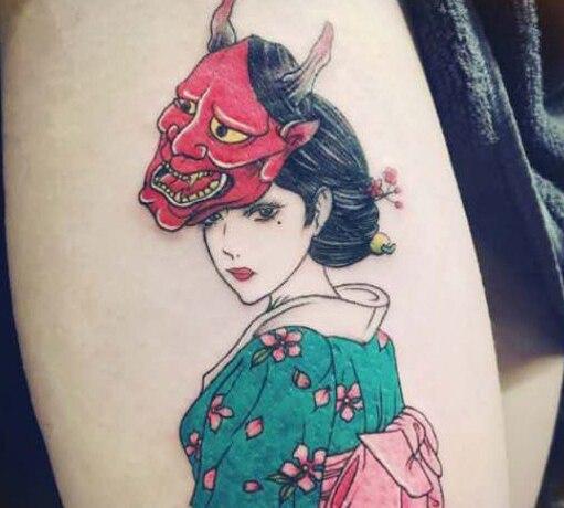 Tatuaje temporal pegatina impermeable tatuajes chica y bestia tatuaje falso pegatinas tatuaje mano pierna pecho cuerpo arte para mujer chica