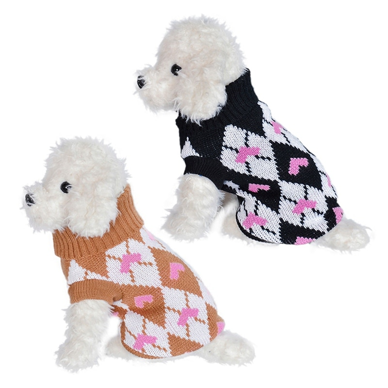 Suéter de perro con patrón de corazón bonito, ropa de punto de invierno para mascotas