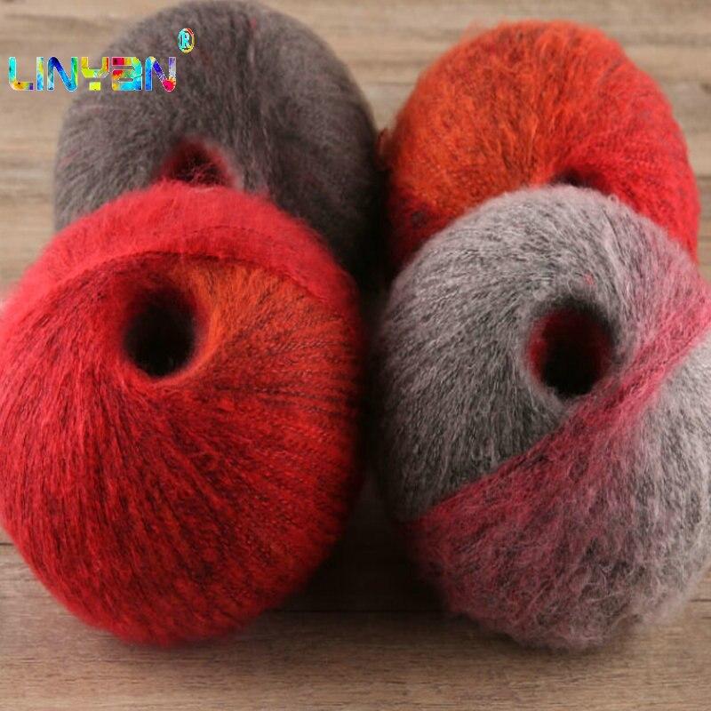 2 piezas * 125g espacio largo tinte mohair hilados para Hilo de Tejer a punto multicolor mano hilo de algodón para tricotar crochet t49