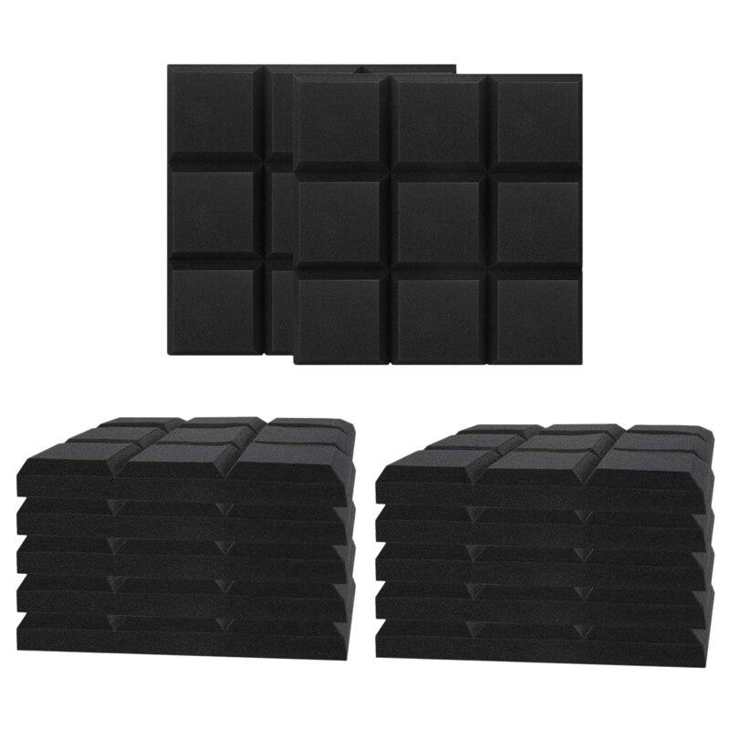 24 حزمة 2 × 12 × 12 بوصة ألواح فوم صوتية ، لوحات الصوت أسافين امتصاص العزل ، 9 كتل تصميم مربع