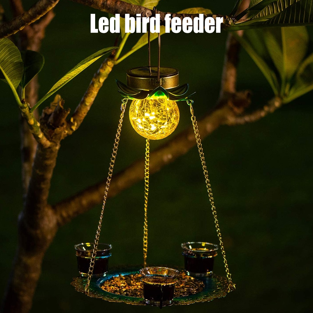 أحدث تعمل بالطاقة الشمسية الطيور المغذية في الهواء الطلق معلقة مقاوم للماء الطيور صينية طعام حديقة المعادن زهرة ديكور LED الإضاءة