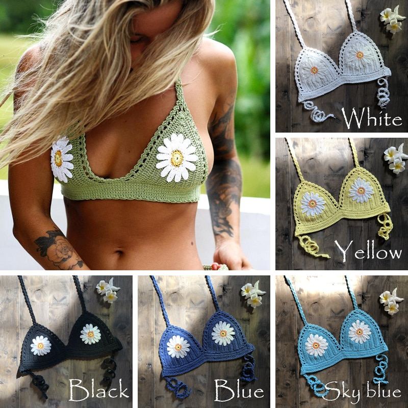 hollow out crochet insert frill top CROCHET BIKINI 9 Color Sexy Bikini Top Women's Halter Neck Crop Top V Knit Crochet Summer Fashion Bikini Lace Hollow Out Bra