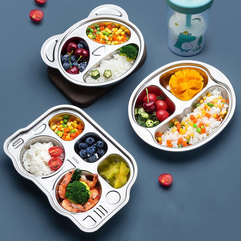 Stainless Steel Tableware Plate For Food Serving Creative Table Plates For Children Dinner Lunch Kitchen Convenience Food Tray
