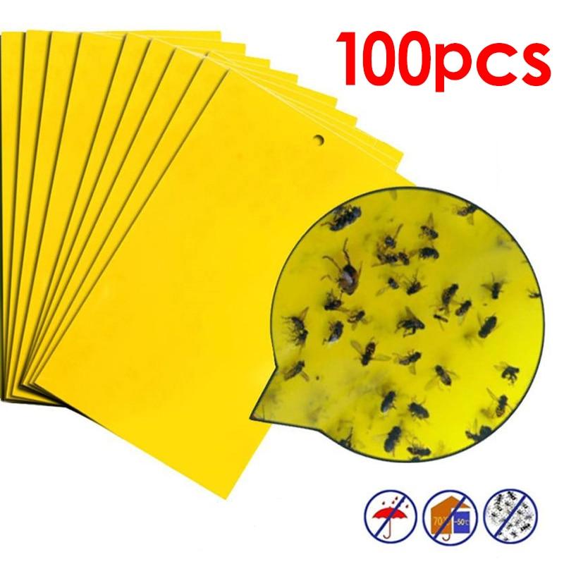 100 pçs forte moscas armadilhas bugs placa pegajosa captura de insetos aphid assassino controle de pragas branco thrip leafminer cola adesivo