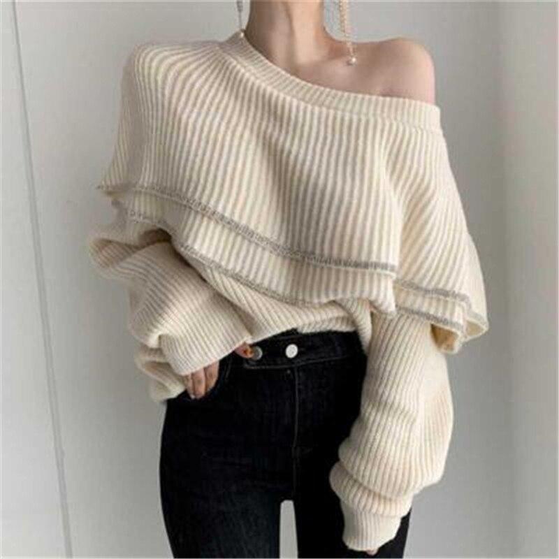 Otoño Invierno diseño de moda mujer suéter jersey con cuello ondulado Sexy recortado punto suéteres de lana para mujer