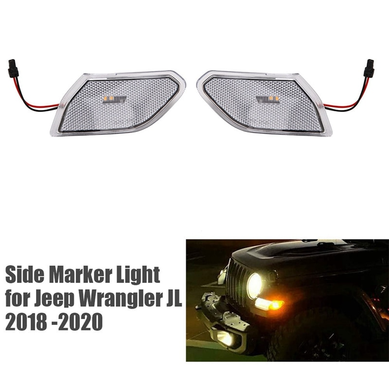 NEW-Front LED Turn Signal Lights Turn Lamp Fender Side Maker Parking Lights for Jeep Wrangler JL 2018-2020