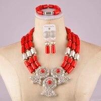 stylish red costume necklace afiran coral set nigerian wedding coral beads jewelry set c21 24 06