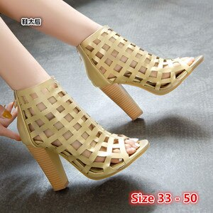 Summer Pumps Sexy Gladiator Sandals Shoes Women High Heels Open Toe Sandal Lady Pump Shoes Small Big Size 33 - 50