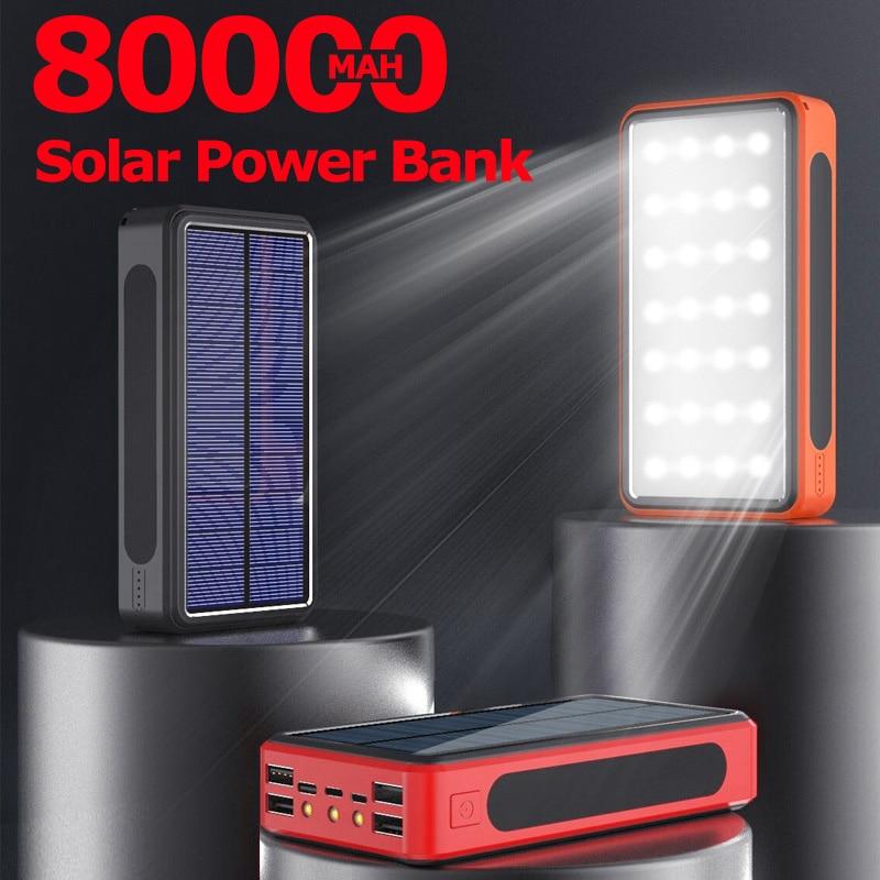 80000mah banco de energia solar 4 usb tipo c poverbank poderoso acampamento luz led carregador portátil para iphone 11 x ipad samsung