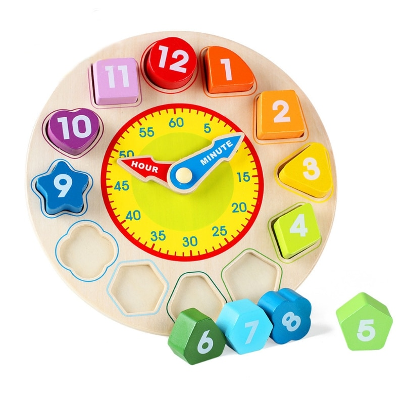 Wooden Shape Color Sorting Clock – Teaching Time Number Blocks Puzzle Stacking Sorter Jigsaw Montessori Early Learning