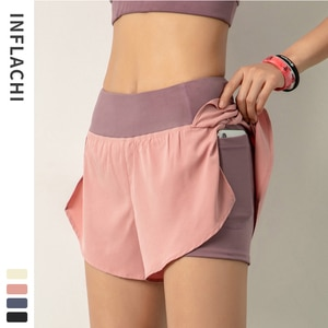 2 In 1 Women Fitness Sport Shorts Running Yoga Shorts Quick-Drying Workout Leisure Sweatpants Training Gym Leggings