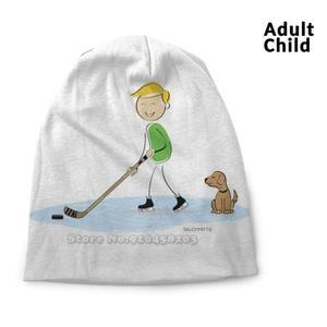 Hockey Boy Cartoon Spring And Autumn Unisex Beanie Knitted Hat Ice Hockey Hockey Boys Hockey Youth Hockey Kids Hockey Boy