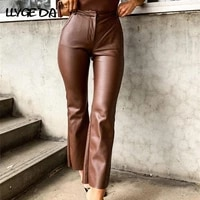 brown pu leather pants for women high waist solid pocket brown womens pants 2021 autumn winter fashion new trousers female