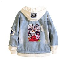 Mens 2019 Inuyasha printing Denim Jacket Casual Bomber coat Hip Hop Retro hoodie Jacket Streetwear