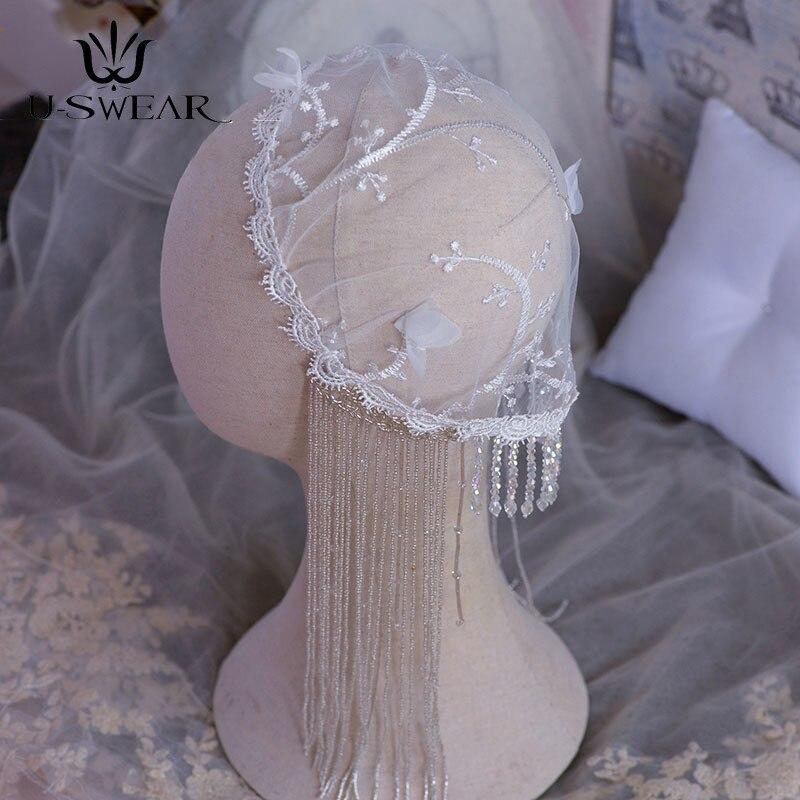 Sombrero de cristal de encaje Vintage para Novia, accesorio para el cabello...