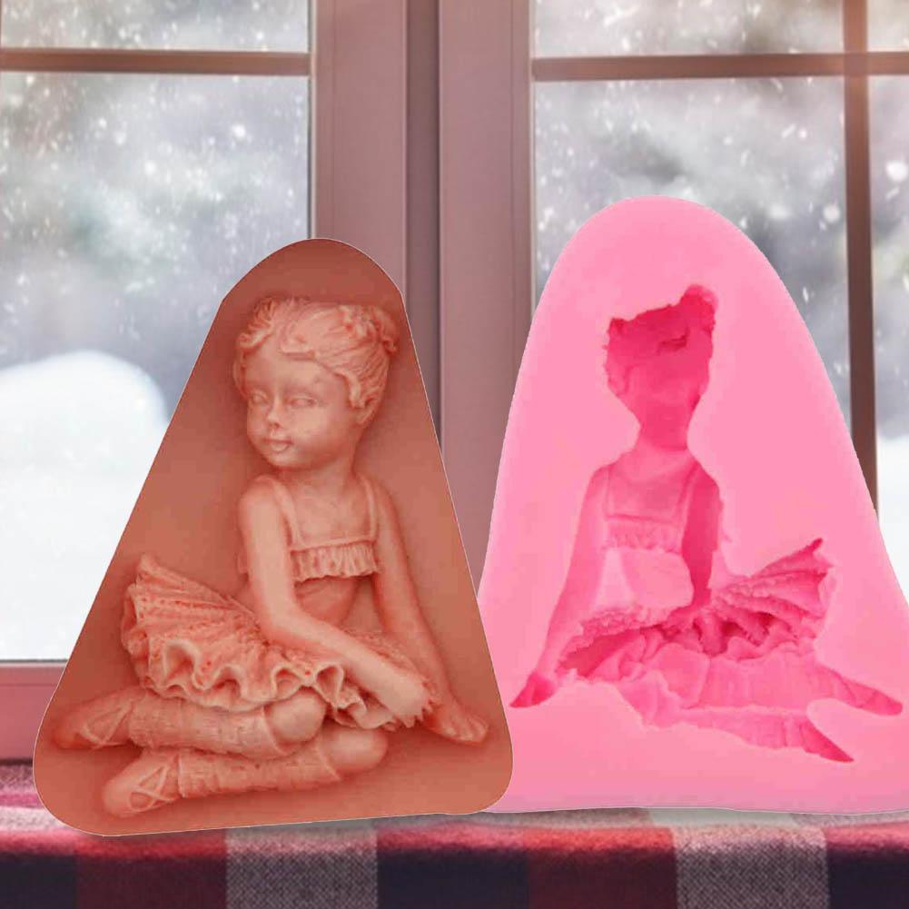 Forma da menina fondant bolo silicone molde geléia pudim diy molde cozinha ferramenta de cozimento sabão vela artesanato aparelho caseiro reutilizável