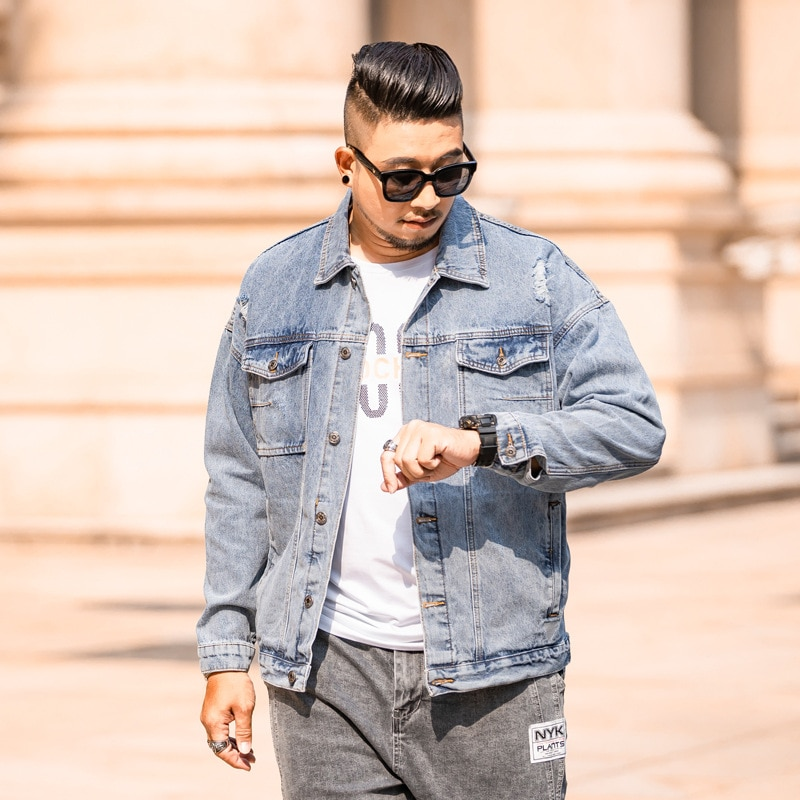 Джинсовая куртка для мужчин 2020 брендовая мужская Весенняя джинсовая рубашка большого размера Мужская джинсовая куртка большого размера