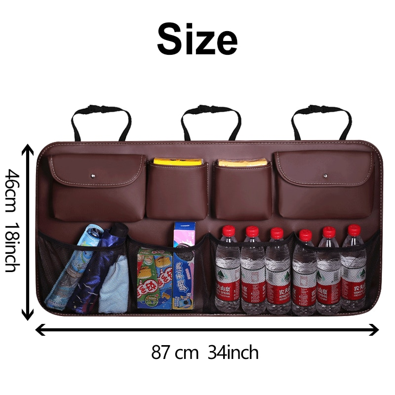 Pu Leather Car Trunk Organizer Universal Car Rear Seat Back Storage Bag Automobile Stowing Tidying Organizers