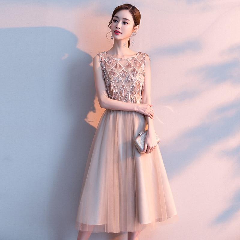 Bridesmaid Dress 2020 New Fashion O-neck Sleeve Wedding Party Dresses Tassel Sequins O-neck Tea Leng