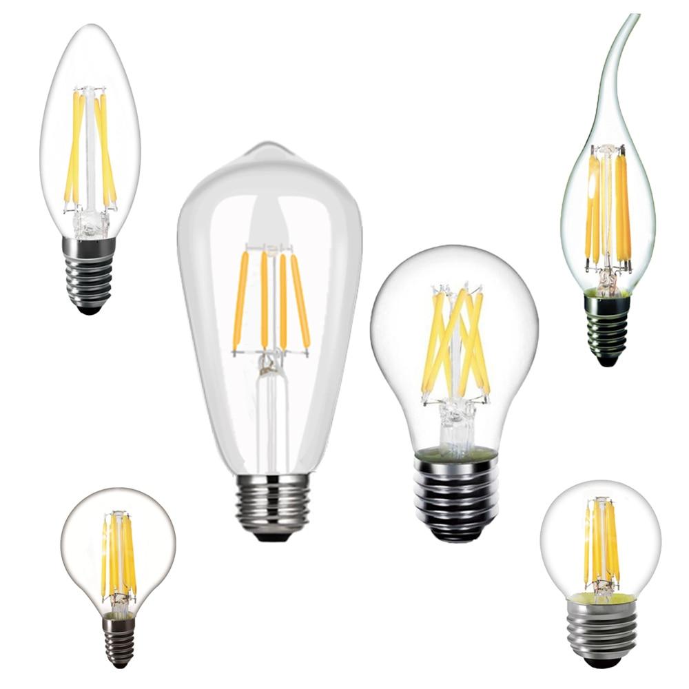 220V светодиодный лампы C35 E14 E27 ST64 2W 4W 6W 8W лампа накаливания Эдисона Ретро Винтаж Свеча светильник теплый белый Гостиная светодиодный лампы