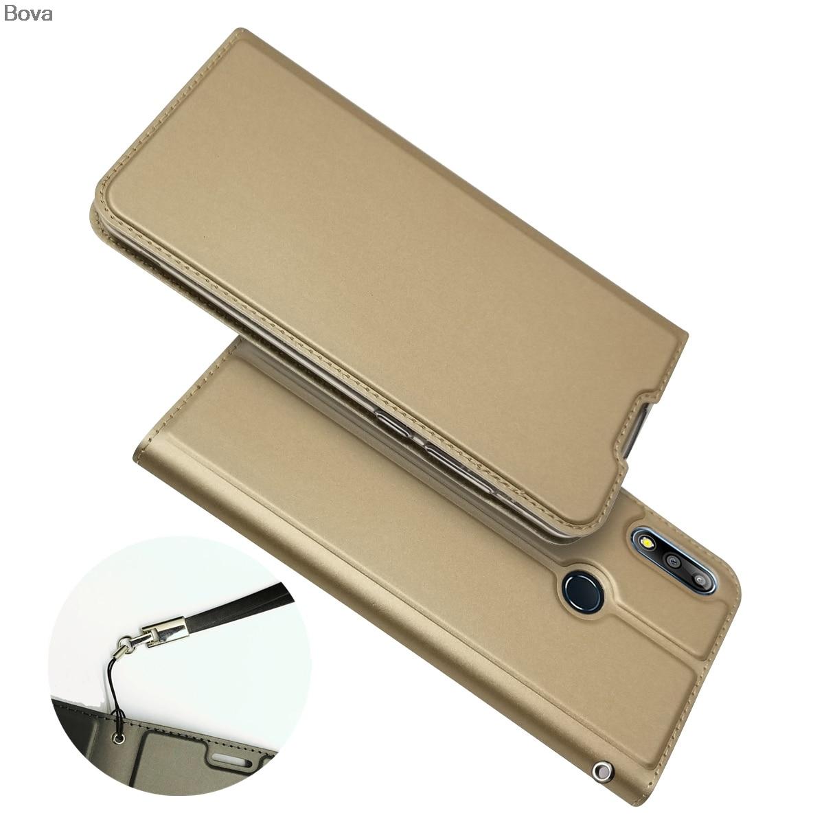 Funda tipo billetera para Asus Zenfone Max Pro (M2) ZB631KL a prueba de caídas, funda para teléfono de atracción magnética Ultra fina con tacto mate