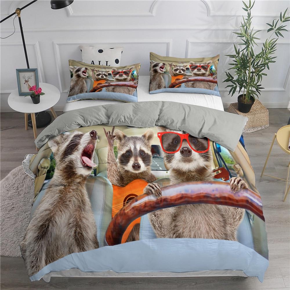 كول القطط ثلاثية الأبعاد طقم سرير الملك الحجم الغيتار حاف الغطاء و المخدة المنسوجات المنزلية موضة الاطفال الكبار للجنسين ديكور غرفة نوم