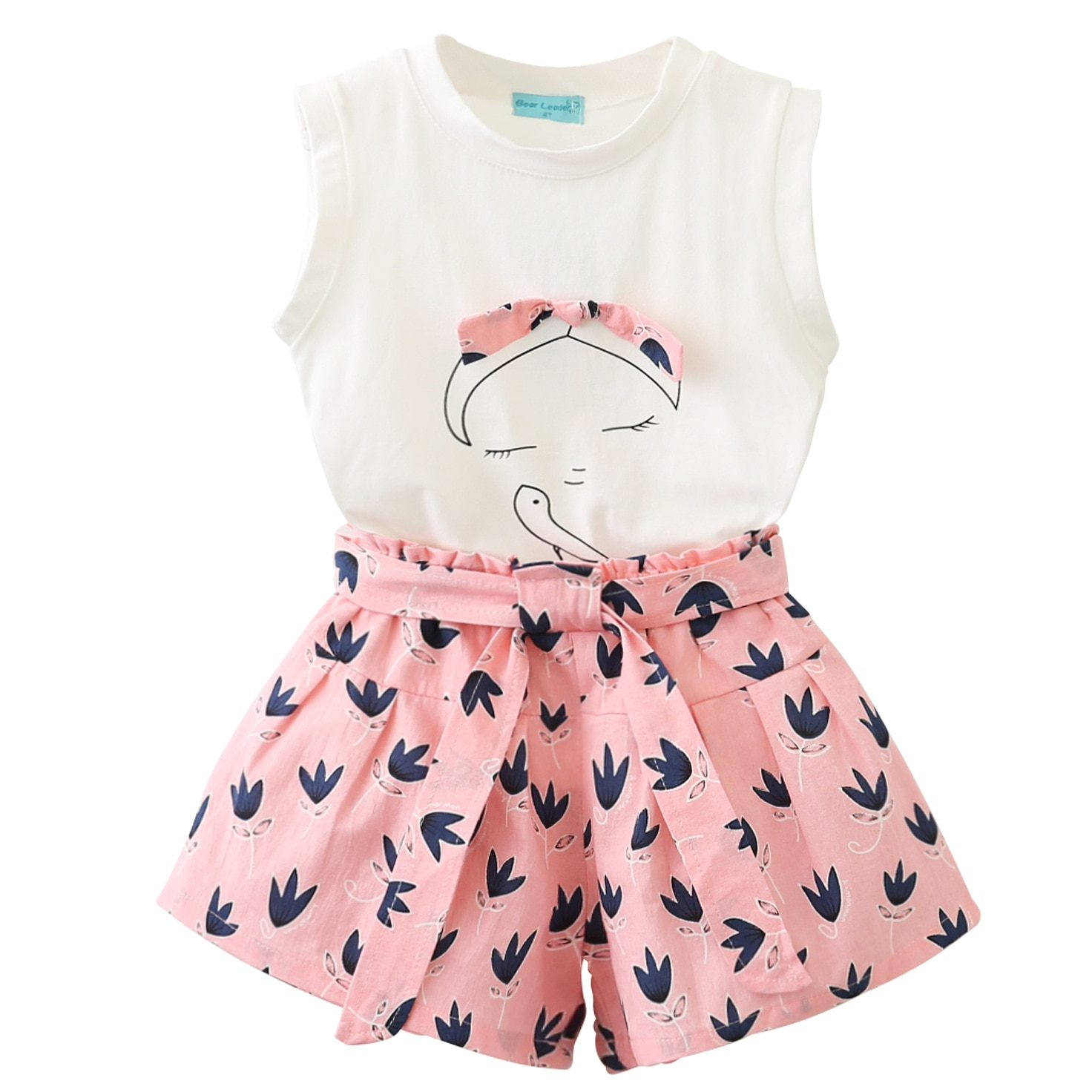 Casual Chidlren Girls Clothing Sets Summer Sleeveless T-shirt Print Bow Shorts for Girl Kids Clothes Children Clothing 2-7 Years