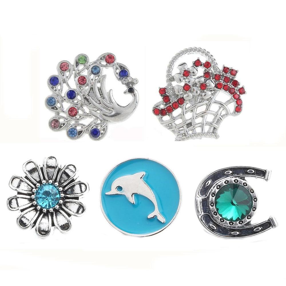 10pcs/lot New 18mm Snap Jewelry Mix RhinestoneF lower basket  Peacock Styles Charm Metal Snap Button Bracelets for Women