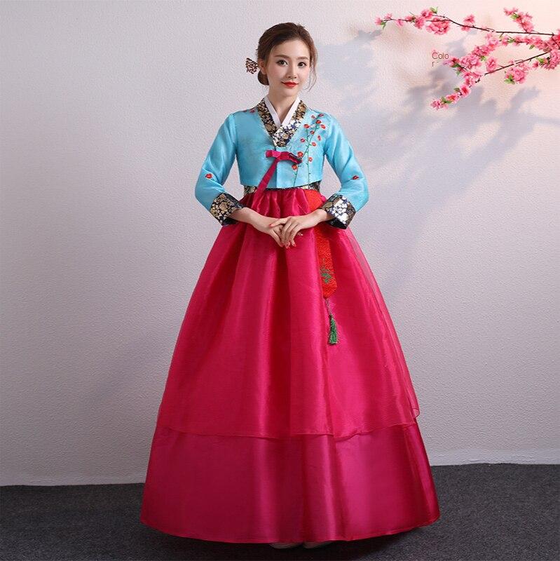 التطريز التقليدي السيدات الهانبوك المحكمة الزواج الكورية الشمالية أداء مرحلة الرقص أداء زي فستان احتفالي