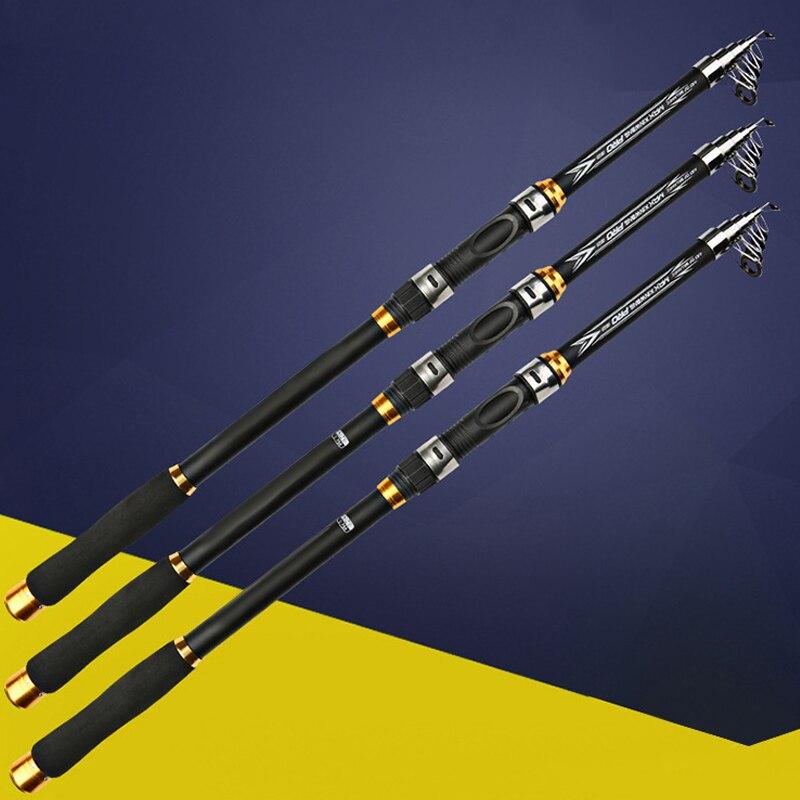 Canne à pêche Portable télescopique dur 2.1M 2.4M 2.7M 3M 3.6M M canne à pêche de haute résistance de Fiber de carbone de conducteur de canne à pêche de carpe