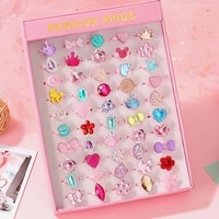123650pcs adjustable cute cartoon rings for girls dress up accessories jewelry party kids toys for kids girl gifts with box