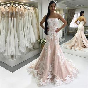 Sexy Strapless Champagne Mermaid Wedding Dresses Ivory Lace Appliques Bride Dress Wedding Gowns vestido de noiva manga longa