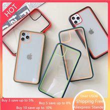Coque de couleur de contraste de peau acrylique colorée coque de téléphone pour iphone 11 Pro Max 11ProMax haute Transmission + couverture décran en soie