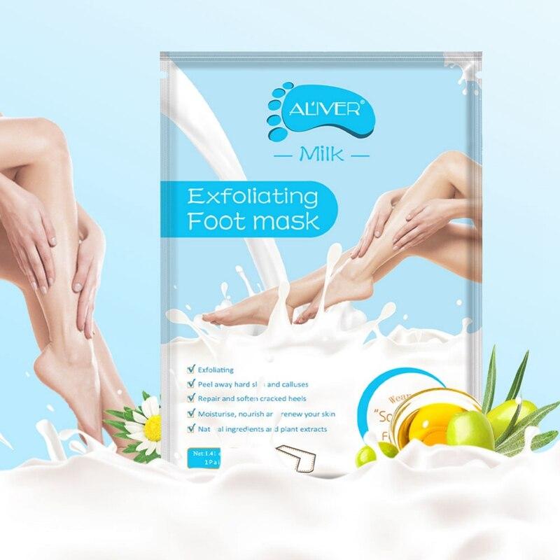 ALIVER leche exfoliante máscara de pie hidratante eliminar los callos suavizar la...