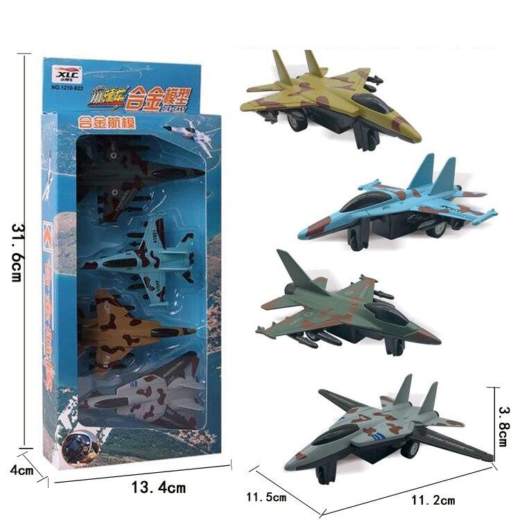 4 pçs/set Liga Avião modelo crianças brinquedos Modelo Militar Brinquedo Lifelike Crianças Lutador Bombardeiro Pull Back Avião Presentes
