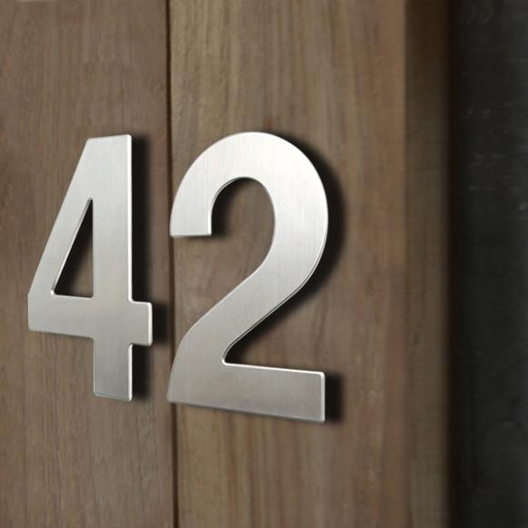 Huisnummer-señal de número de casa, 15cm, para exteriores, plata, 6 pulgadas Identificación...
