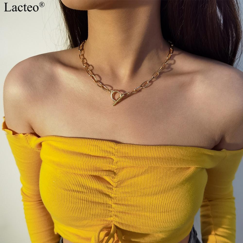 Lacteo Hip Hop bâton boucle bouton collier ras du cou rue Punk grosse croix chaîne collier Long mode collier bijoux pour les femmes
