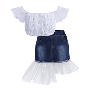 2021 Summer Girls Casual Fashion Print T-shirt And Skirt Outfit 2pcs Sets Cotton For Kids Children Clothes