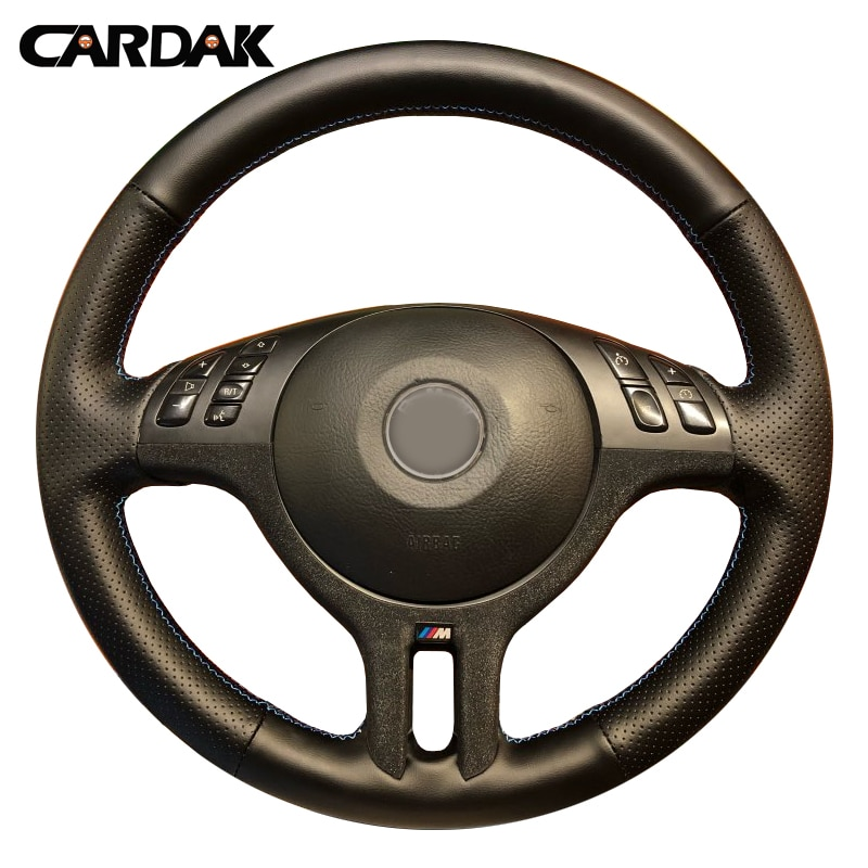 CARDAK Hand-Stitched Black Artificial Leather Car Steering Wheel Cover for BMW E46 325i X5 E53 E39
