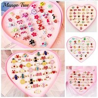 36pcslot cute plastic kids rings mixed resin cabochons crystal colorful rhinestone alloy band for girls boy party jewelry gifts