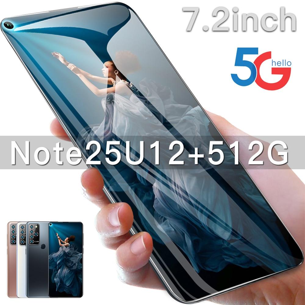 هاتف نوت 25U الذكي بشاشة 7.2 بوصة الإصدار العالمي 5G الهاتف المحمول 5800mAh 12 + 512GB 24MP + 48MP HD كاميرا Android10 المزدوج سيم الهاتف المحمول