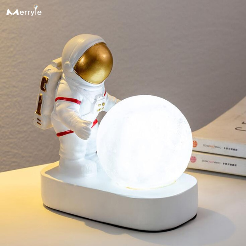 Astronaut Spaceman Led Moon Lamp Child Baby Night Light for Birthday Christmas Holiday Gift Bedroom Bedside Table Night Lamp 24cm big moon lamp usb holiday atmosphere decorative sleeping table lamp touch bedside kids baby light creative gift chargeable